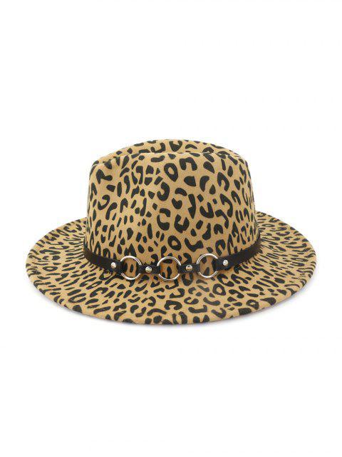 Зимняя Шляпа Джаз Плоский край Принт леопарда - Светлый хаки  Mobile