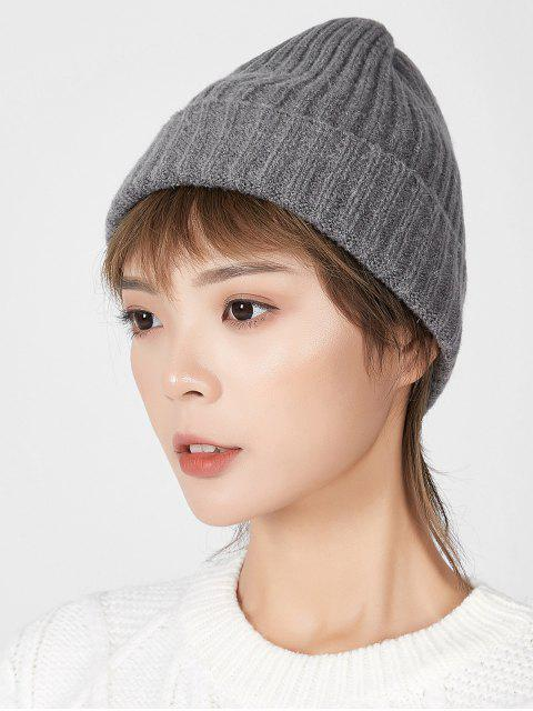 trendy Knitted Chic Braid Winter Hat - DARK GRAY  Mobile