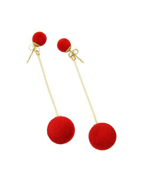 Рождество Пушистый шар Серьги - Лава-красный  Mobile