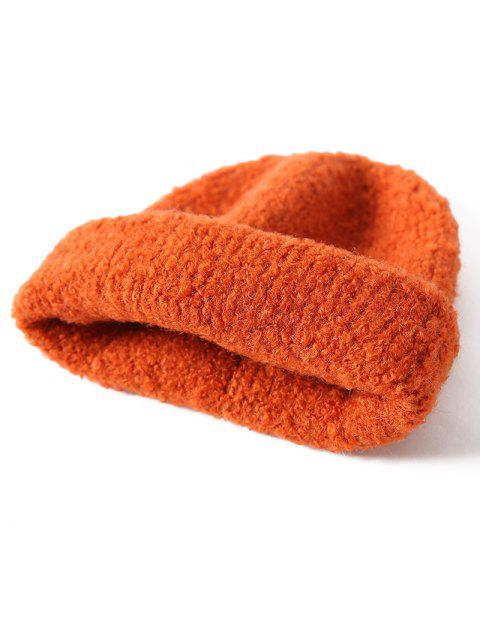 ladies Solid Unisex Knitted Skullcap Hat - TANGERINE  Mobile