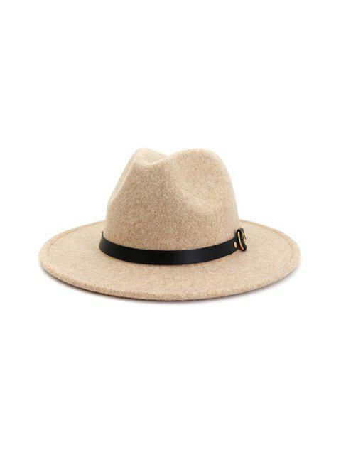 fancy Buckle Belt Flat Brim Jazz Hat - BEIGE  Mobile