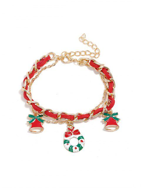 ladies Christmas Bell Layers Charm Bracelet - GOLD GARLAND Mobile