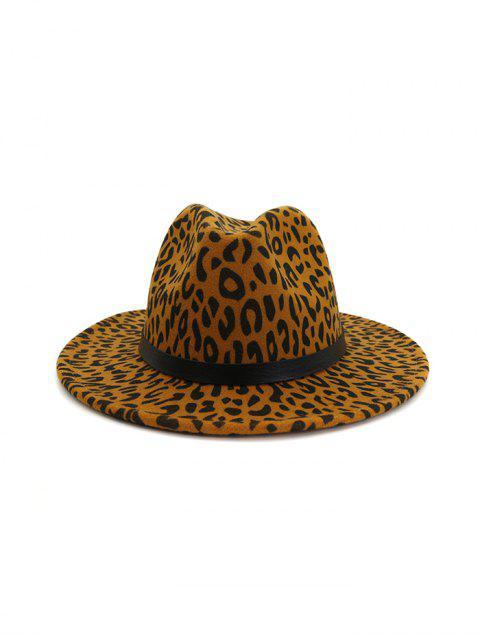 outfit Leopard Print Felt Jazz Hat - KHAKI  Mobile