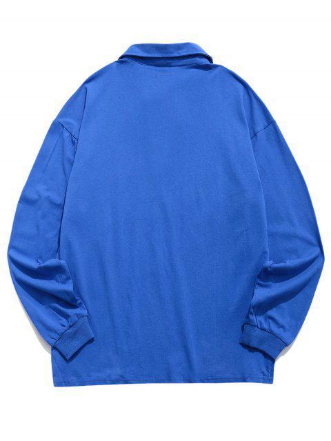 信打印顏色拼接長袖T卹 - 藍色 XS Mobile