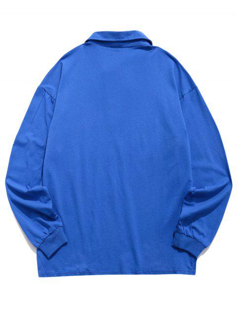 信打印顏色拼接長袖T卹 - 藍色 S Mobile