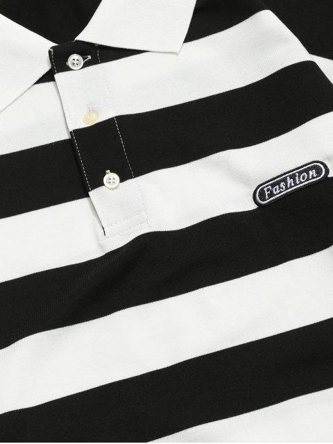 Colorblock條紋長袖休閒T卹 - 黑色 S Mobile