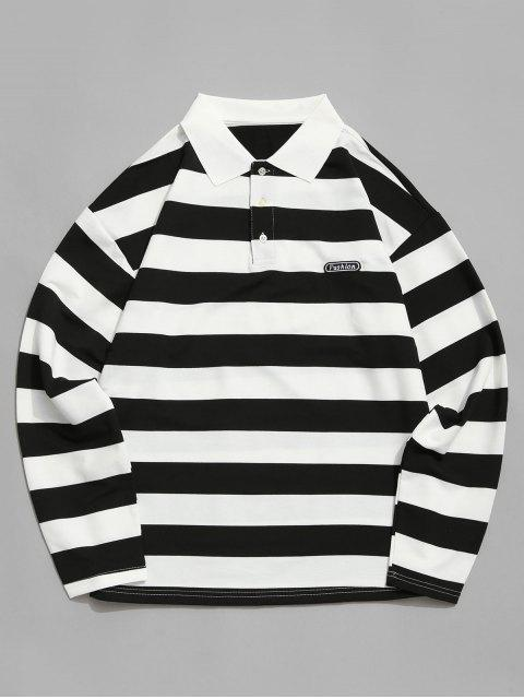 new Colorblock Stripes Long Sleeve Casual T-shirt - BLACK S Mobile