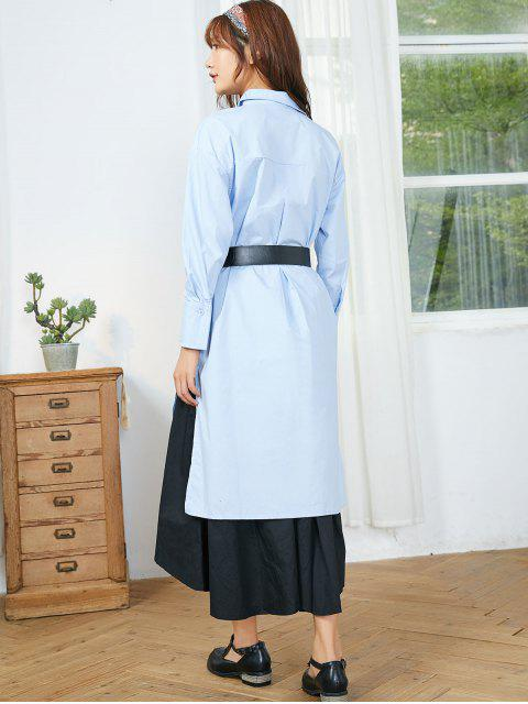 women's High Low Longline Shirt - DAY SKY BLUE L Mobile