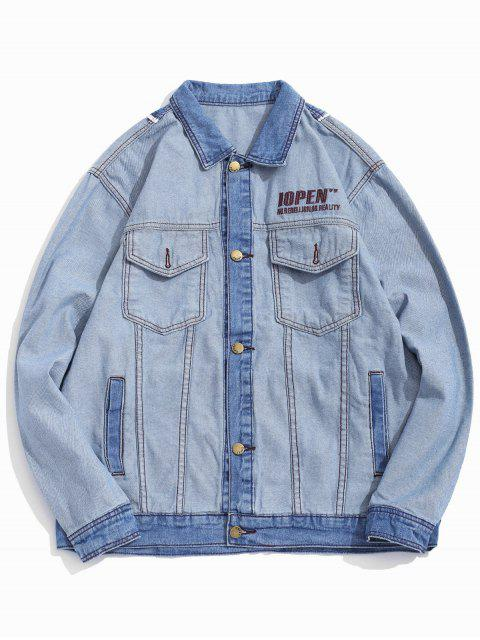 womens Letter Embroidery Colorblock Spliced Jean Jacket - LIGHT BLUE 2XL Mobile