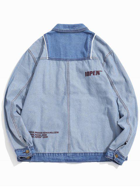 Veste Lettre Brodée en Blocs de Couleurs Jointive en Jean - Bleu Léger  XL Mobile