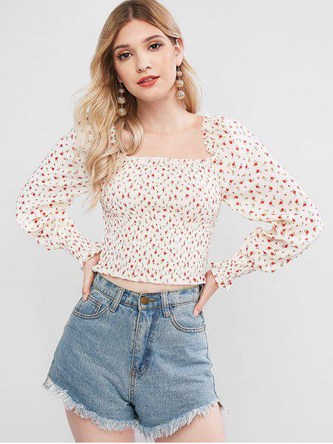 lady Rose Print Smocked Crop Blouse - BEIGE S Mobile