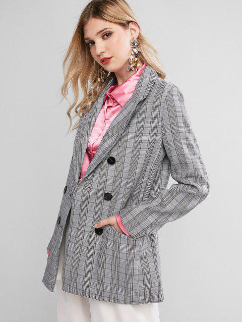 buy Flap Pockets Plaid Double Breasted Blazer - MULTI M Mobile