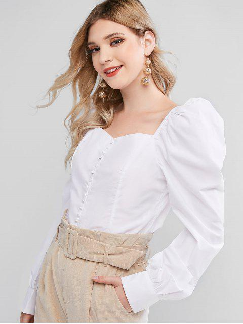 affordable Sweetheart Button Embellished Smocked Blouse - WHITE M Mobile