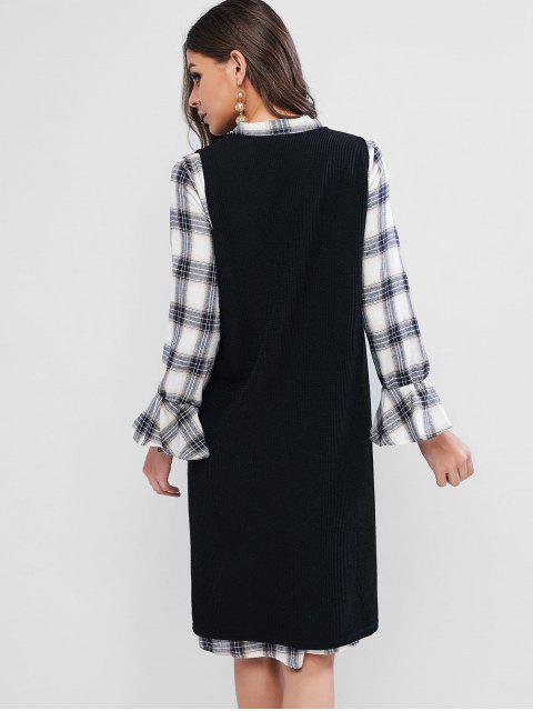 Ensemble de Robe Nouée à Carreaux à Manches Longues Deux Pièces - Noir L Mobile