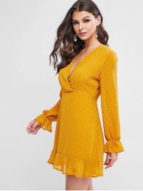 Robe Superposée à Manhces Longues à Pois à Volants - Orange d'Or XL Mobile