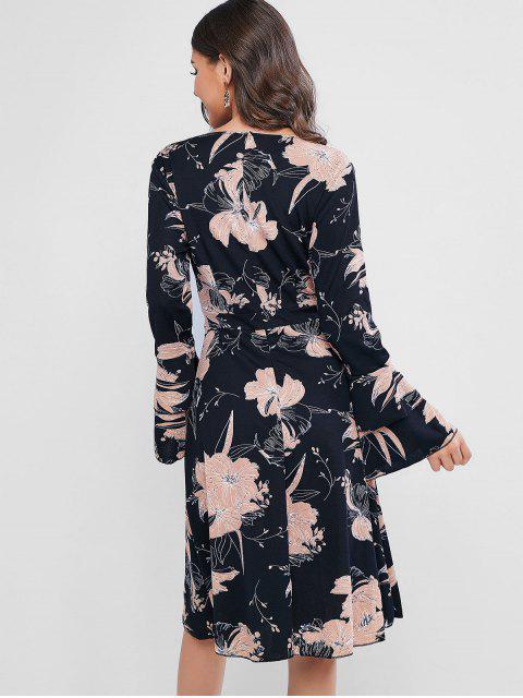 shops Layered Flare Sleeve Floral Surplice Dress - BLACK S Mobile