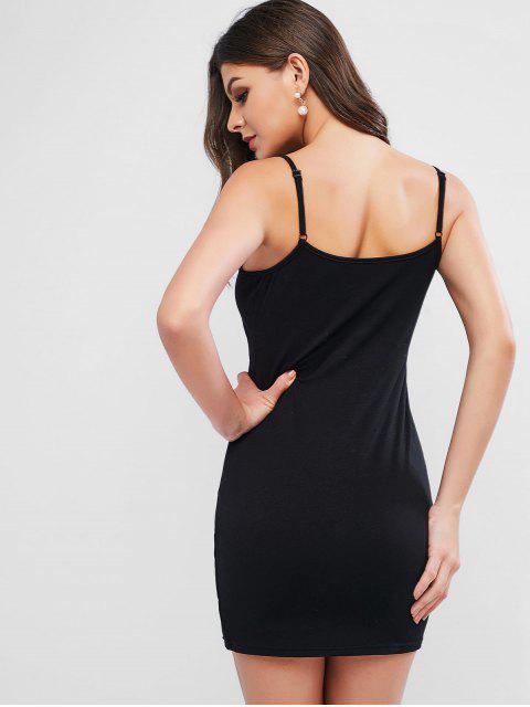 ZAFUL Mini Robe Moulante Fendue à Bretelle - Noir S Mobile