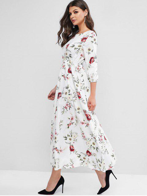 women Flower Print A Line Maxi Bohemian Dress - WHITE S Mobile