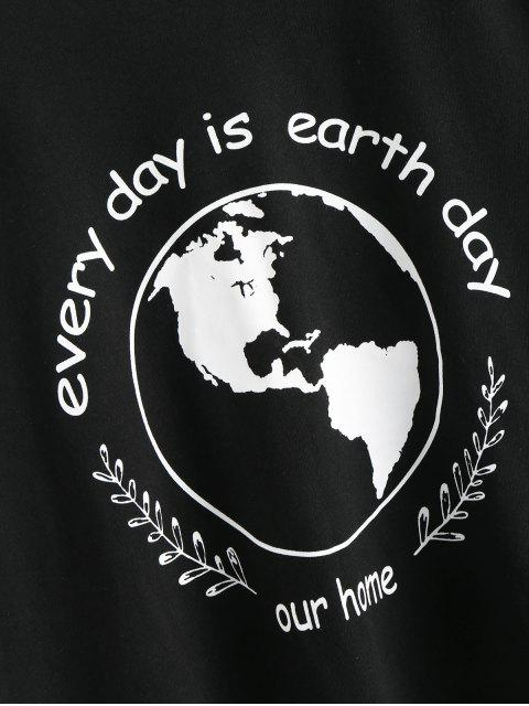 fashion Earth Day Slogan Short Sleeves Tee - BLACK L Mobile