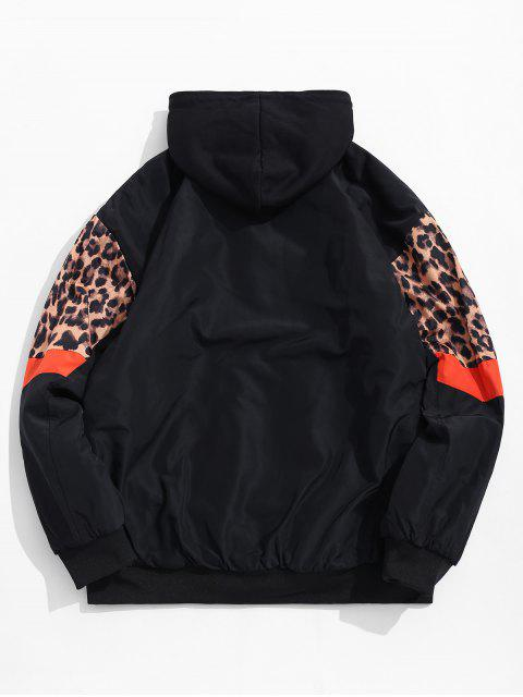 women Colorblock Spliced Leopard Chevron Print Hooded Quilted Jacket - TIGER ORANGE 2XL Mobile