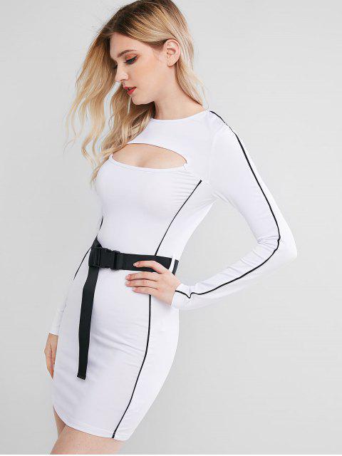 Robe Ceinturée Bouclée Découpée à Manches Longues - Blanc L Mobile