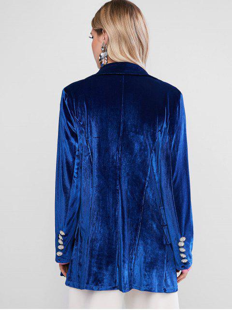 women Rhinestone Beading Velvet Blazer - BLUE L Mobile