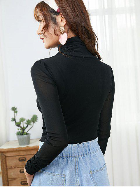 online Mesh Turtleneck Long Sleeve Ruched Tee - BLACK M Mobile