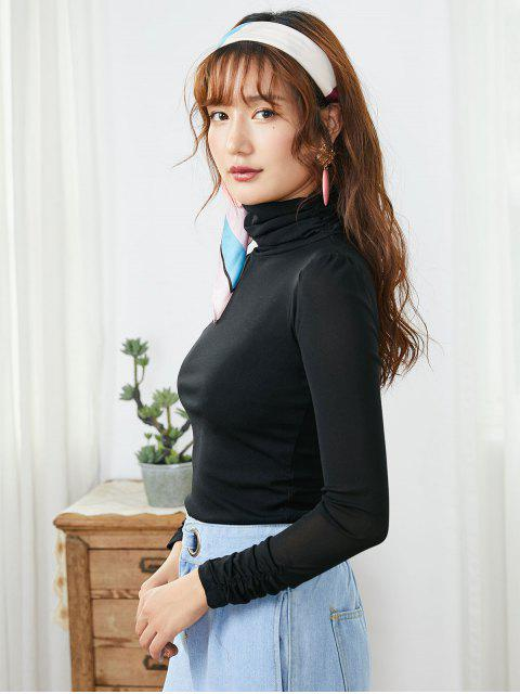 outfit Mesh Turtleneck Long Sleeve Ruched Tee - BLACK L Mobile