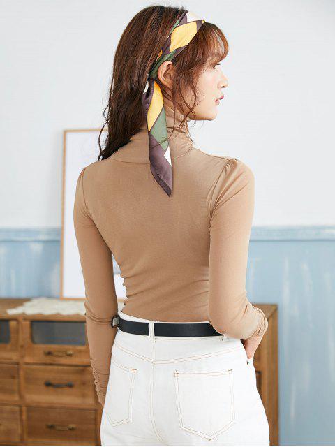 women Mesh Turtleneck Long Sleeve Ruched Tee - TAN L Mobile