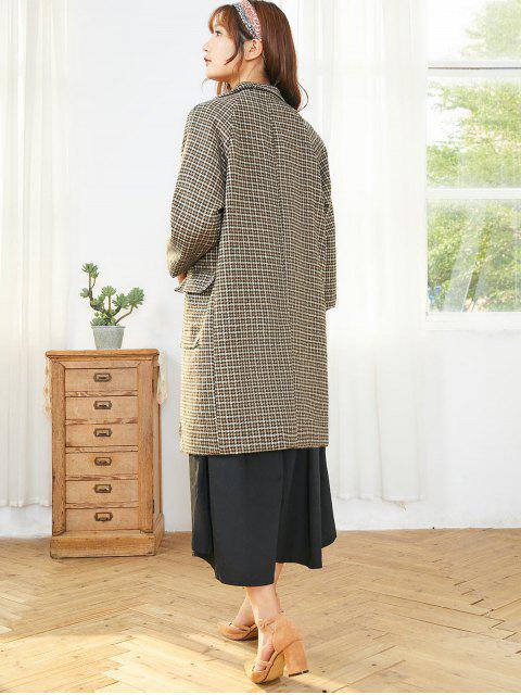 ladies Houndstooth Lapel Flap Pocket Single Breasted Tweed Coat - BROWN M Mobile
