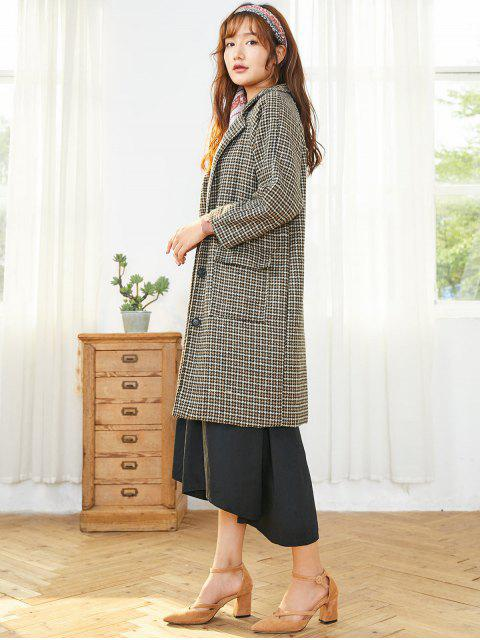 online Houndstooth Lapel Flap Pocket Single Breasted Tweed Coat - BROWN S Mobile