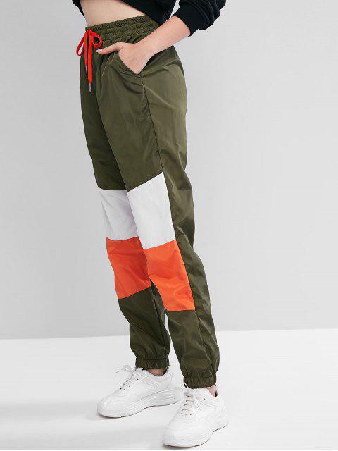 ZAFUL色・ブロッキング巾着ウィンドブレーカーポケットジョガーパンツ - アーミーグリーン S Mobile