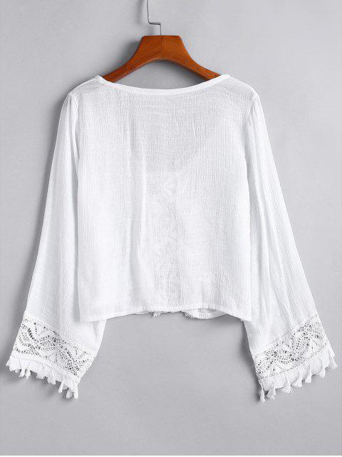 fashion Lace Panel Tassels Long Sleeve Top - WHITE ONE SIZE Mobile