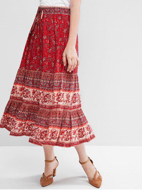 Богемный стиль Цветочный принт Со шнуровкой Миди-Юбка - Красный S Mobile