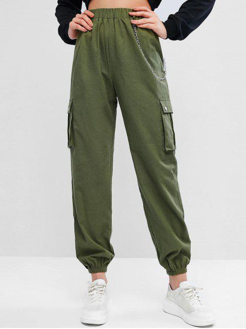sale Chain Flap Pockets Solid Jogger Pants - ARMY GREEN S Mobile