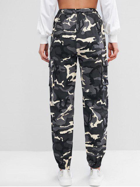 Pantalones de chándal con solapa y bolsillos con solapa de cadena - Gris S Mobile