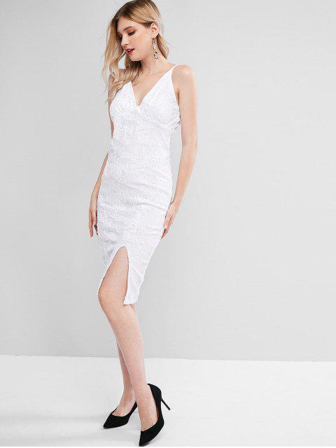Pailletten Samt Urlaub Kleid - Weiß M Mobile