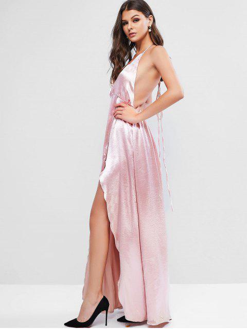 ZAFUL Maxi Robe de Soirée Fendue Sans Dos en Satin - Rose  M Mobile