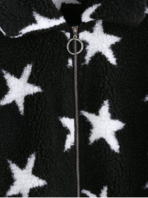 ZAFUL Stern Fallschulter Taschen Teddy Mantel - Schwarz XL Mobile
