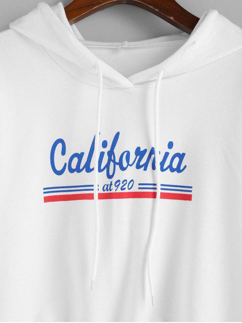 ZAFUL加州圖形抽繩下擺裁剪夾克 - 白色 L Mobile