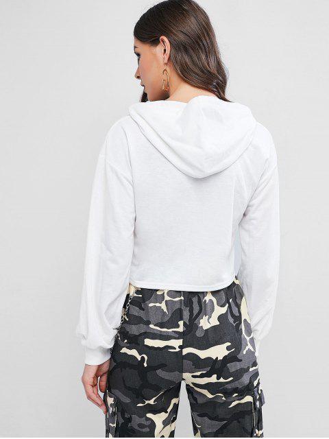 ZAFUL Graphik Fallschulter Crop Hoodie - Weiß XL Mobile