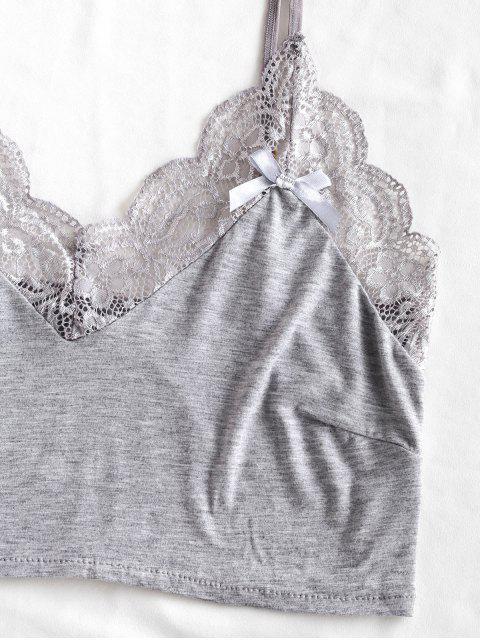 affordable Lace Trim Short Pajama Set - GRAY CLOUD M Mobile