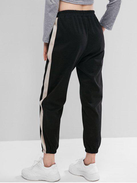 抽繩Colorblock高腰褲慢跑者 - 黑色 L Mobile
