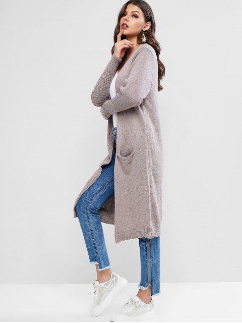 Öffnung Longline dünne Strickjacke mit Tasche - Dark Khaki Eine Größe Mobile