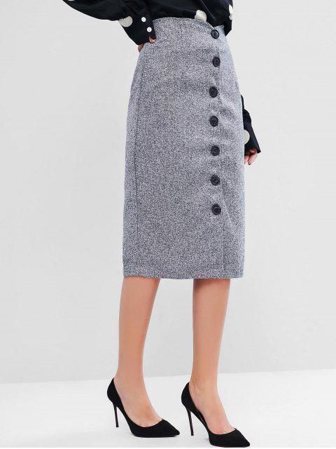 按鈕向上花呢裙 - 灰色 L Mobile