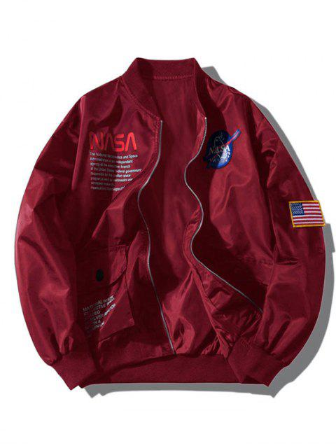 trendy ZAFUL Letter Graphic Embroidery American Flag Applique Pocket Jacket - RED WINE S Mobile