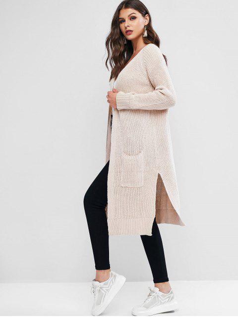 Kragenlose Lange Strickjacke mit Tasche und Schlitz - Warmweiß Eine Größe Mobile