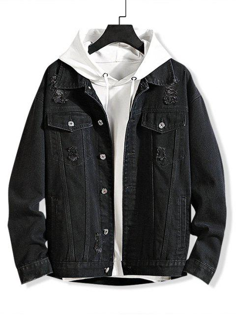 trendy Solid Color Ripped Decorated Denim Jacket - BLACK 2XL Mobile