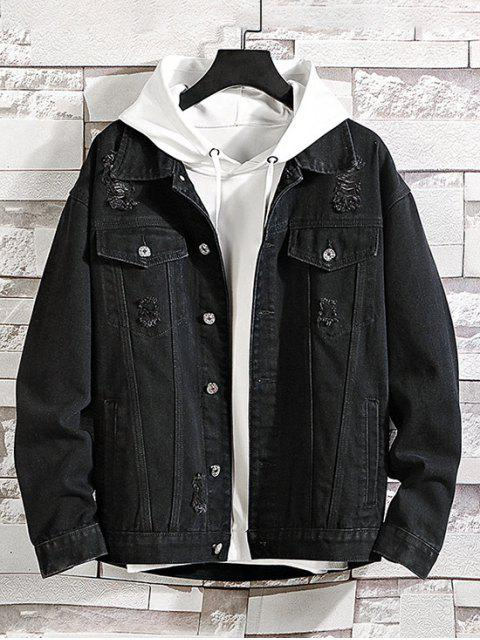 latest Solid Color Ripped Decorated Denim Jacket - BLACK XL Mobile