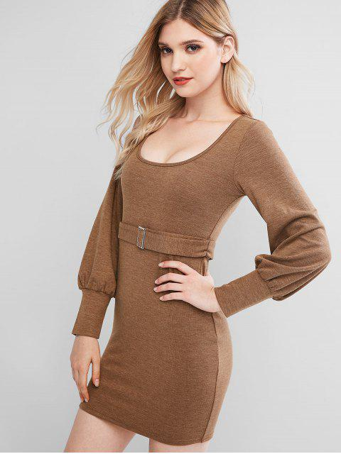 ZAFUL Strick Belted Bodycon Minikleid - Holz M Mobile